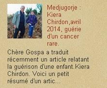 Medjugorje : avril 2014 Kiera Chirdon, guérie d'un cancer rare.