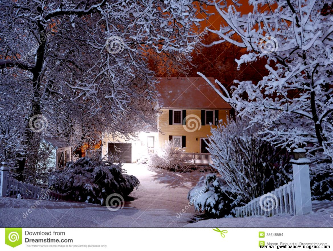 Night Scene During Snowstorm Stock Images   Image 35646594