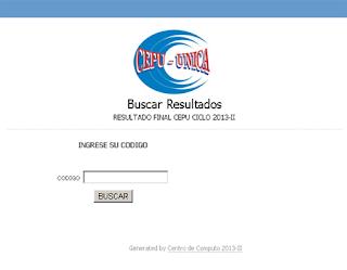 Resultados Tercer Examen CEPU UNICA 2013-II 15 de Diciembre
