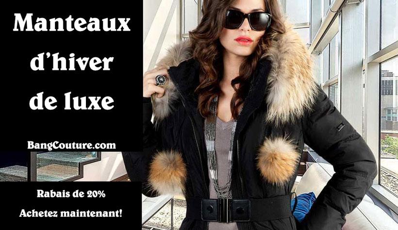 manteaux d 39 hiver de luxe pour femmes 20 de rabais coupons au qu bec. Black Bedroom Furniture Sets. Home Design Ideas
