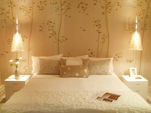 Master bedroom with romantic wall art for Mural art designs for bedroom