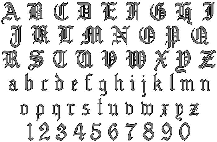 Old English Letters Alphabet