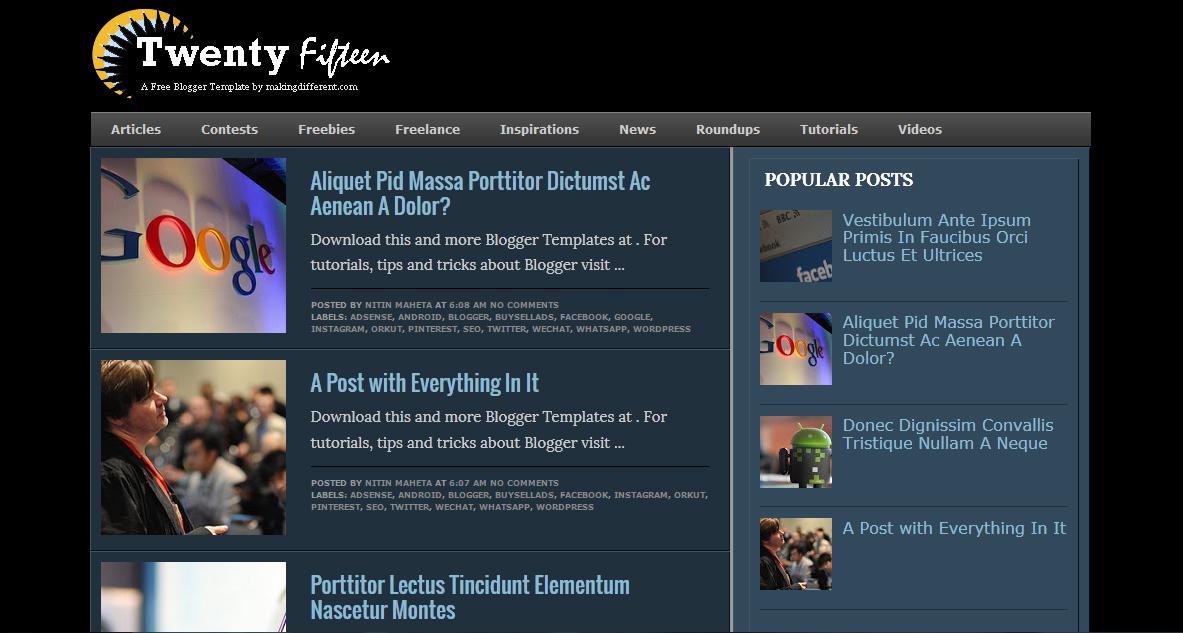 Twenty Fifteen Blogger Template Free Download