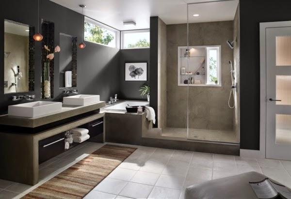 Baño Suelo Gris Oscuro:10 Baños grises – Colores en Casa