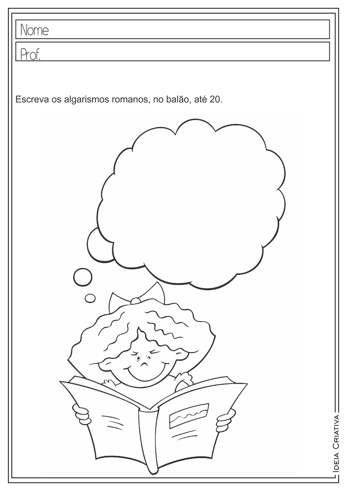 Atividades Educativas Matemática Algarismos Romanos para Ensino Fundamental