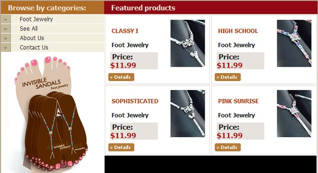 Foot Jewelry from InvisibleSandals.com