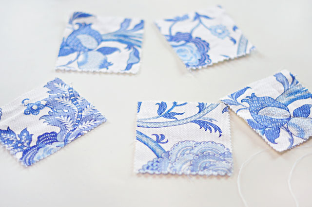 DIY Pom Pom Cocktail Napkins or Coasters, blue and white