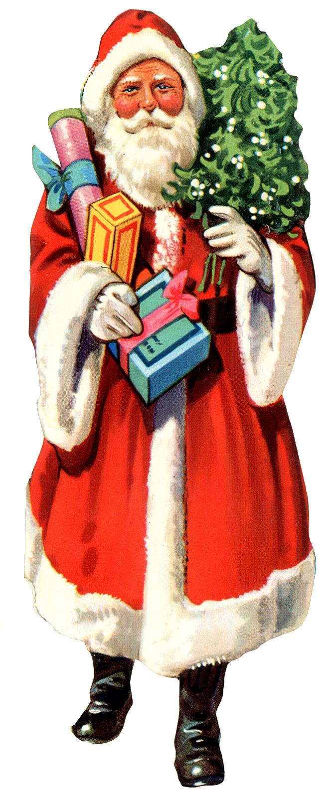 Vintage Santa with presents and Christmas tree