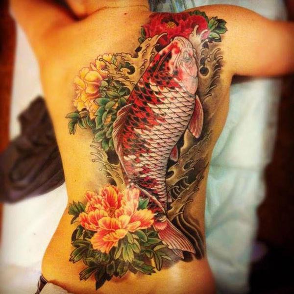 Chiêm ngưỡng hình xăm cá chép đẹp lung linh 10