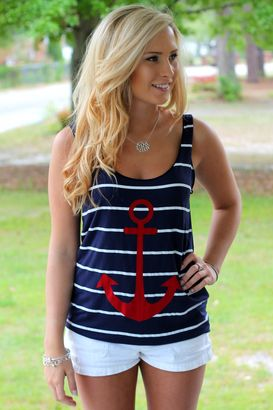 Navy anchor tank.  Lovely