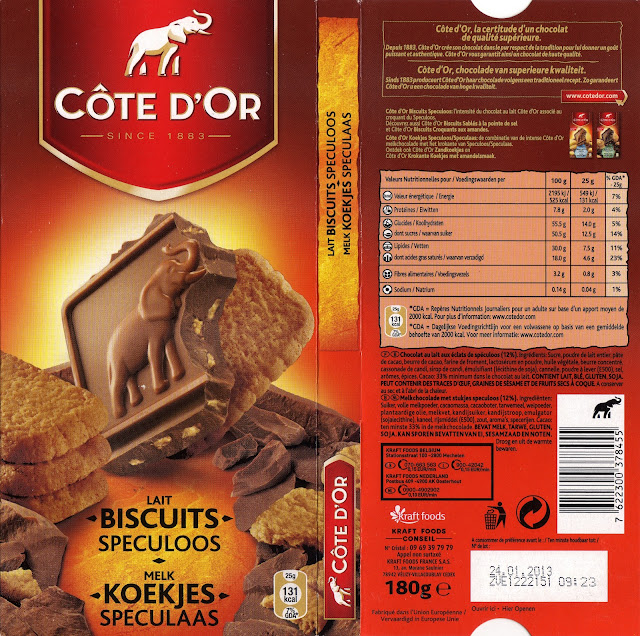 tablette de chocolat lait gourmand côte d'or lait biscuits speculoos