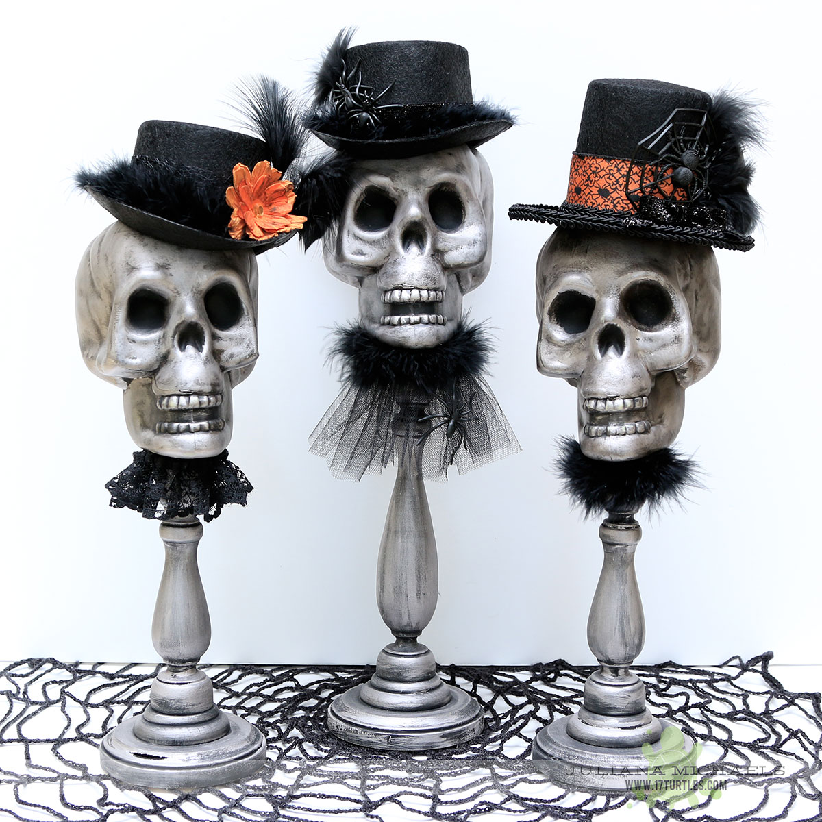 Halloween skull decorations - Dollar Tree Halloween Decor Using Plastic Skulls By Juliana Michaels