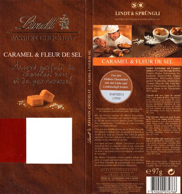 tablette de chocolat lait gourmand lindt passion chocolat caramel & fleur de sel