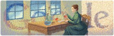 Marie Curie doodle de Google Marie Curie logo de Google doodle 7 de noviembre
