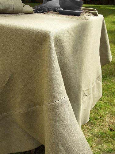 "Una Natural Linen Tablecloth -made according to old traditions of linen-making.  Hemstitched detail. 71"" x 98""  (180 x 250 cm)"