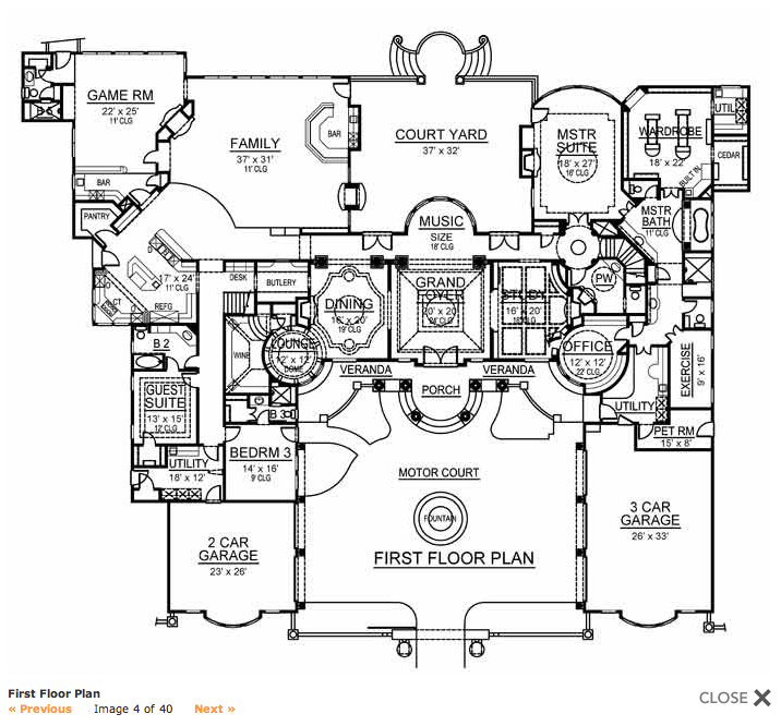 Mansions more 9 000 square foot mediterranean w floor for Mediterranean mansion floor plans