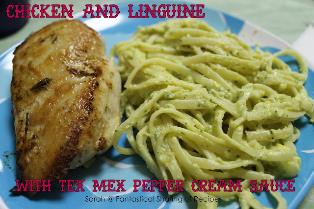 Chicken & Linguine with Tex Mex Pepper Cream Sauce. Creamy and full of fresh garden flavors! #chicken #pepper #pasta