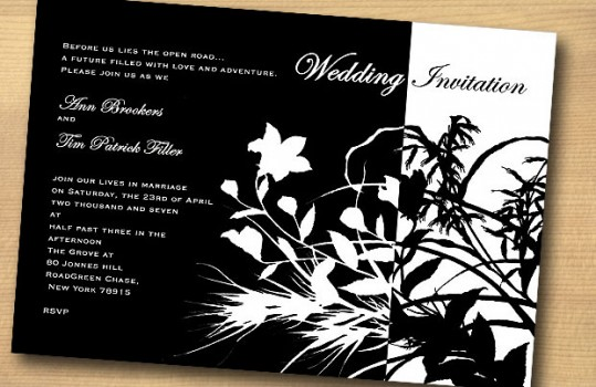 Black and White themed invites