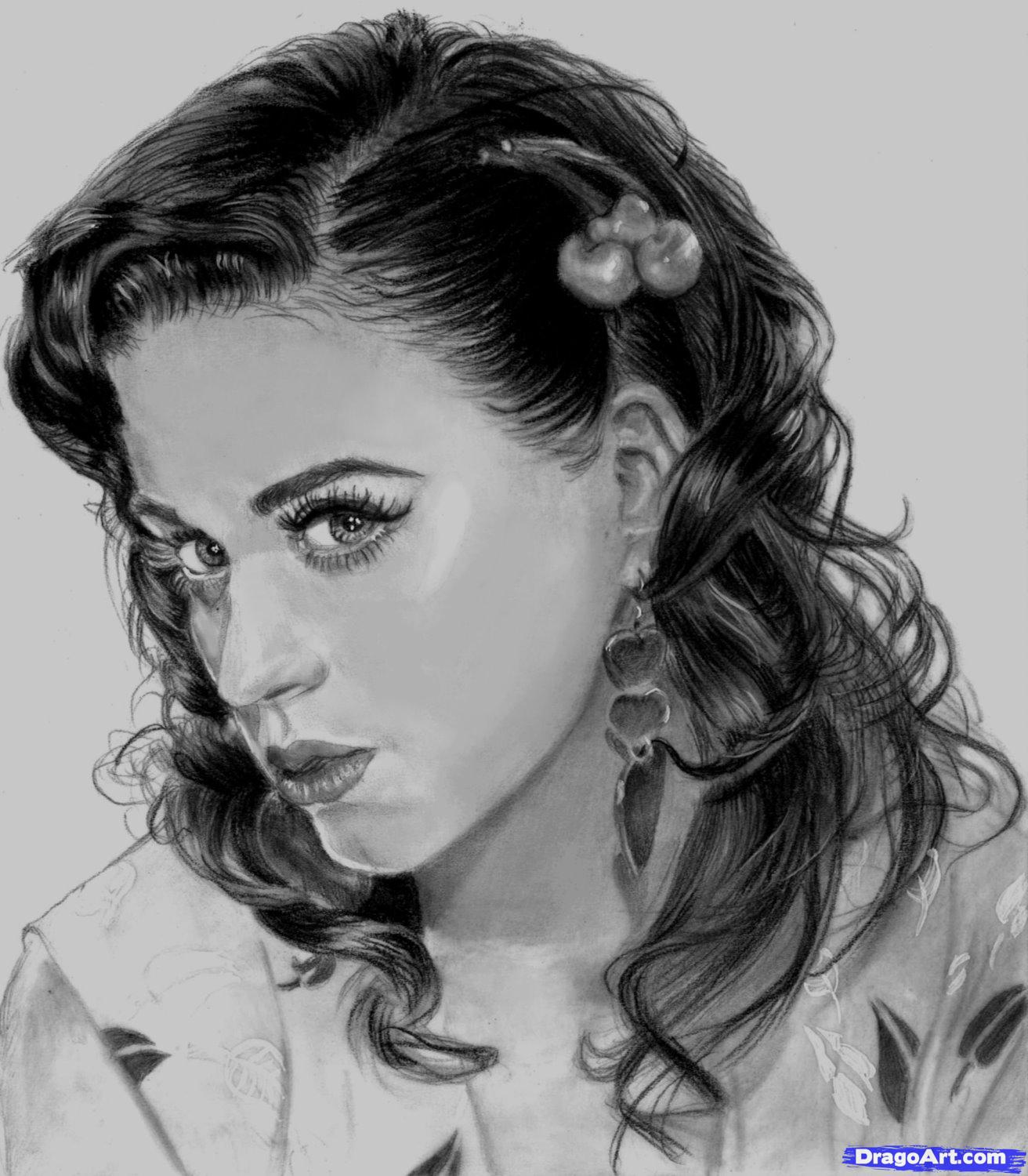 Free coloring pages katy perry - How To Draw Katy Perry