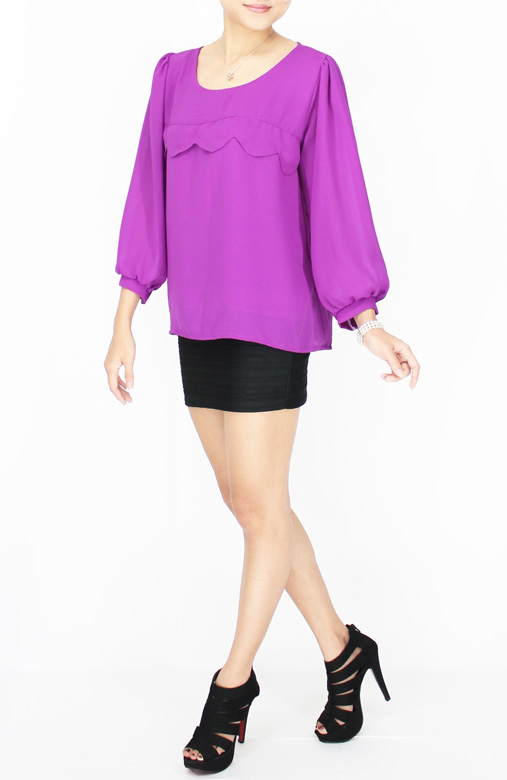 Orchid Wave Detail Long Sleeve Chiffon Blouse