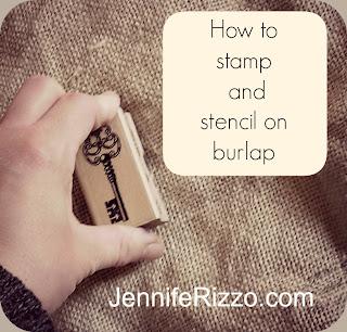 stamping on burlap