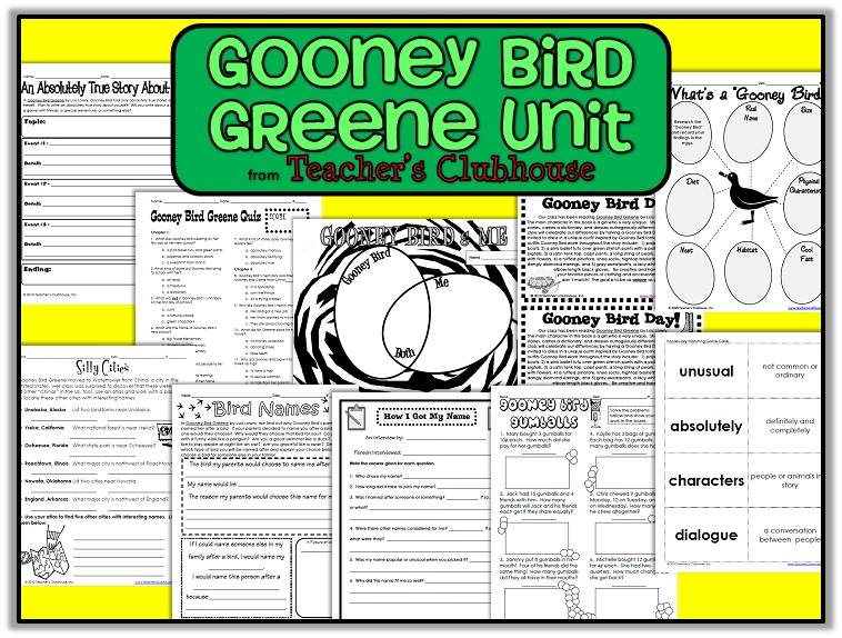 http://www.teacherspayteachers.com/Product/Gooney-Bird-Greene-Unit-from-Teachers-Clubhouse-547218