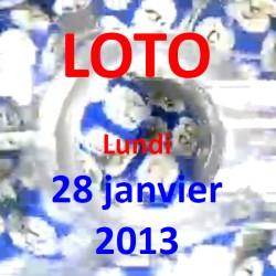Résultat du LOTO - tirage du lundi 28 janvier 2013