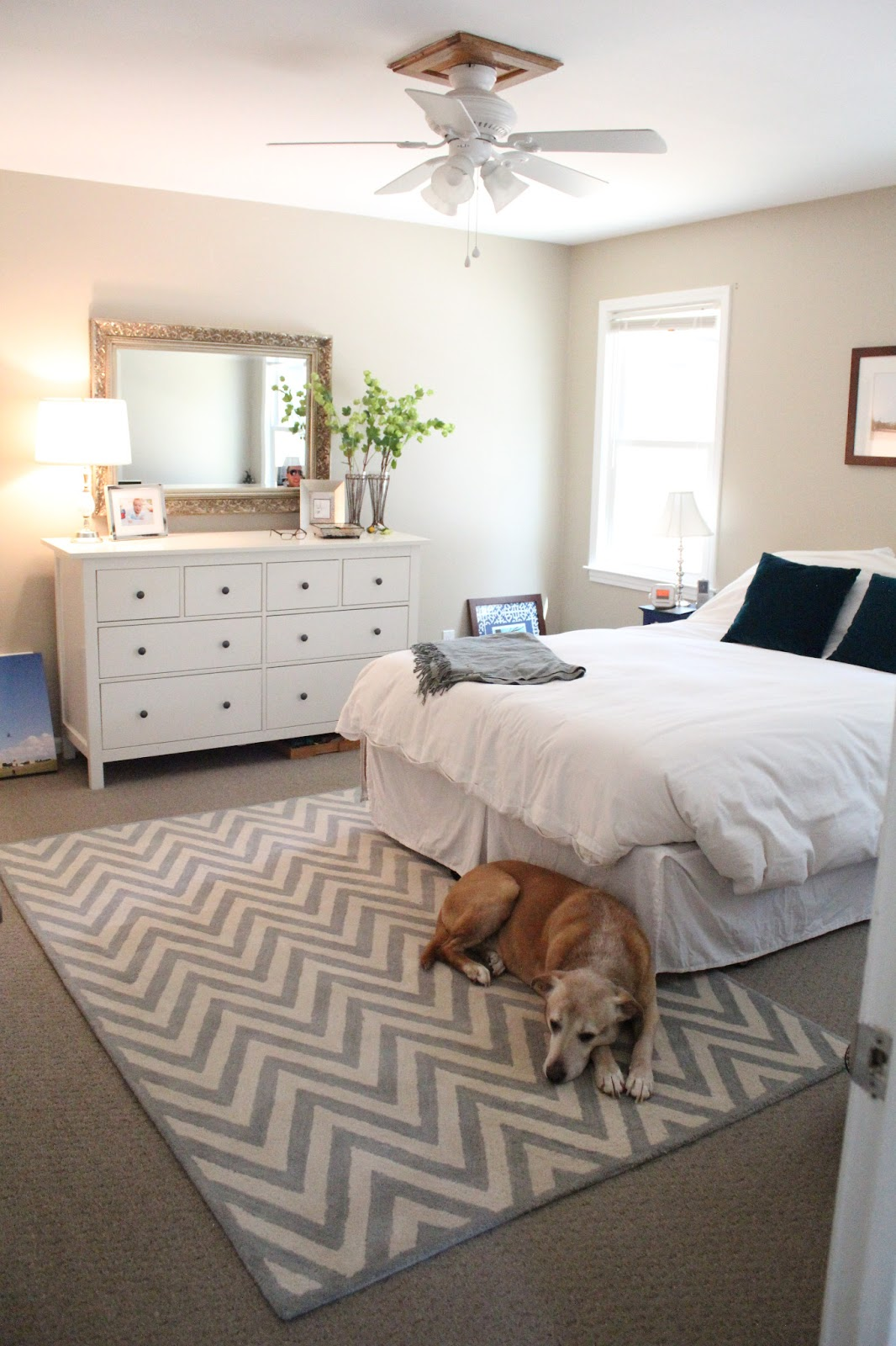 Ten june our rental house a master bedroom tour for Bedroom carpet ideas