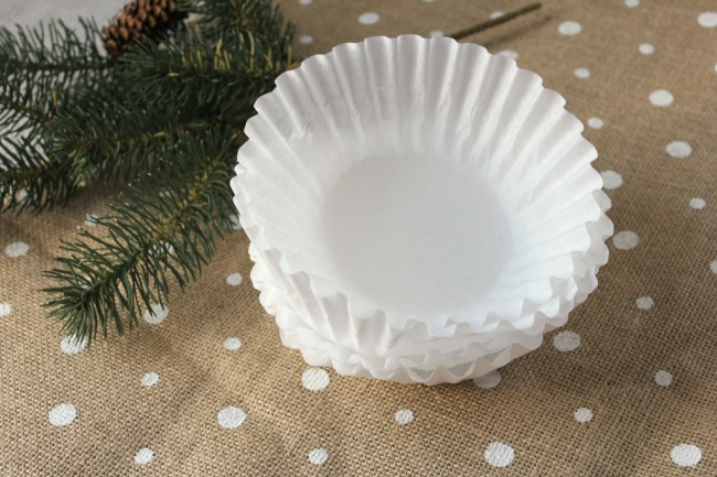 5 coffee filters for angel wing ornament