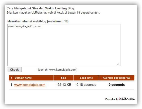 Membuat Tool Untuk Mengetahui Size dan Waktu Loading Blog Dari iWebTool