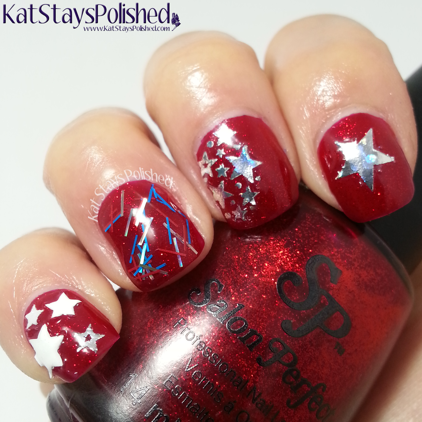 Salon Perfect - Paint the Town Red White and Blue - Special Effect Top Coat - Grand Finale and Nail Decals | Kat Stays Polished
