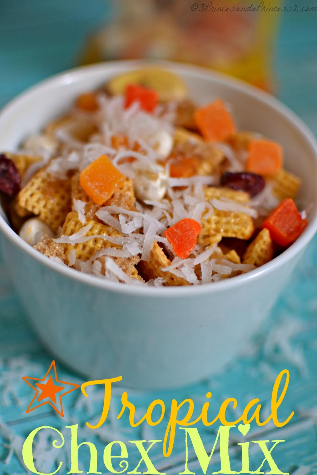 Simple Snacks fFor The Big Game:  Tropical Chex Mix #Recipe #SB48
