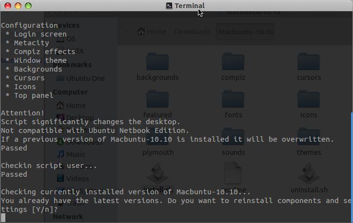 Install MacBuntu di Ubuntu 12.04 LTS - Tampilan di terminal