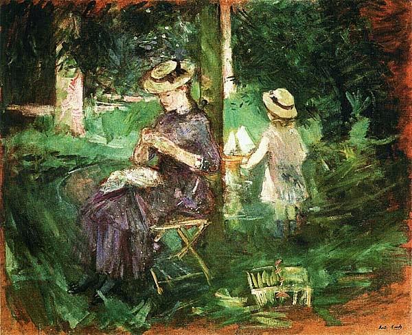 Берта Моризо. Молодая женщина за шитьем в саду. 1884.