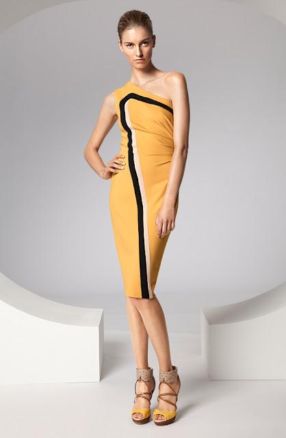 escada sarı asimetrik kesim elbise modeli