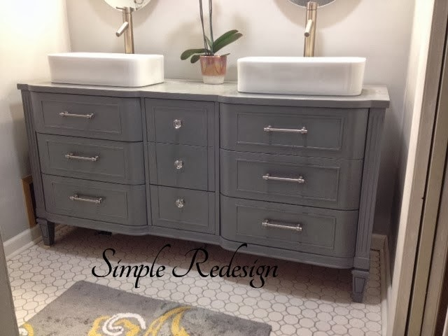 Furniture flippin 39 she 39 s back for Turning a dresser into a bathroom vanity