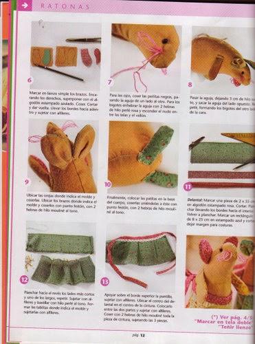 Moldes ratinhos de tecido