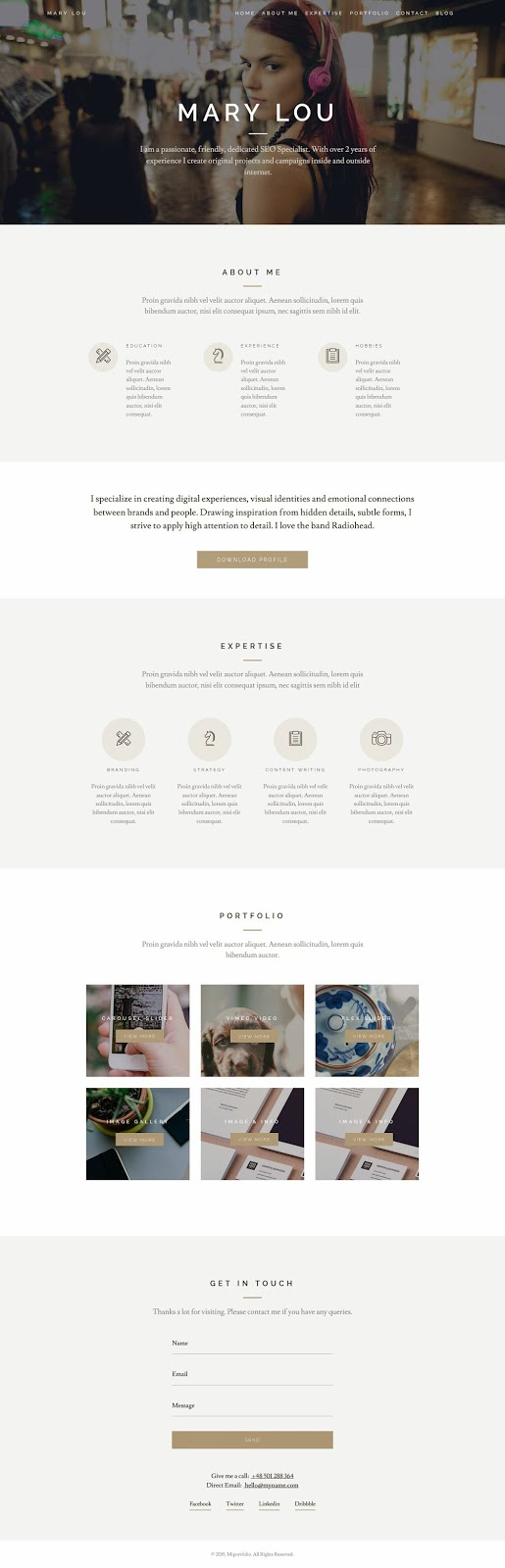 Screenshot Responsive One Page Creative WordPress Theme