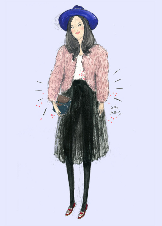 Kitty N. Wong / Fashion Streetstyle Illustration - Carol