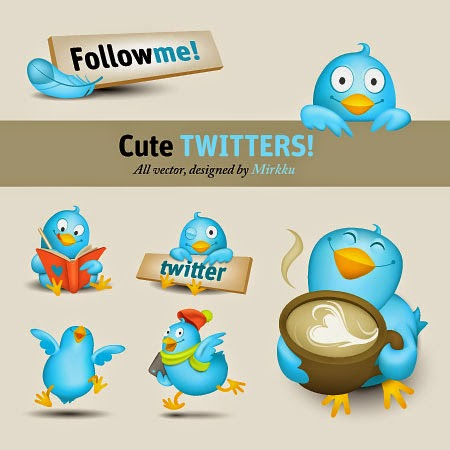 Cute Twitter Icon Set
