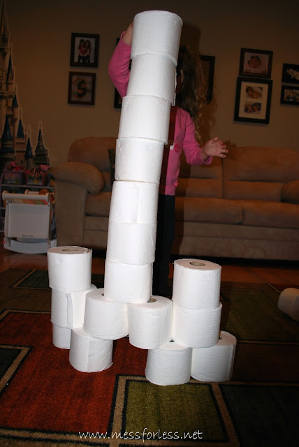 Building and playing fun math games with toilet paper