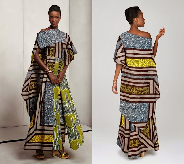 2015 Vlisco African print off shoulder layered gown.
