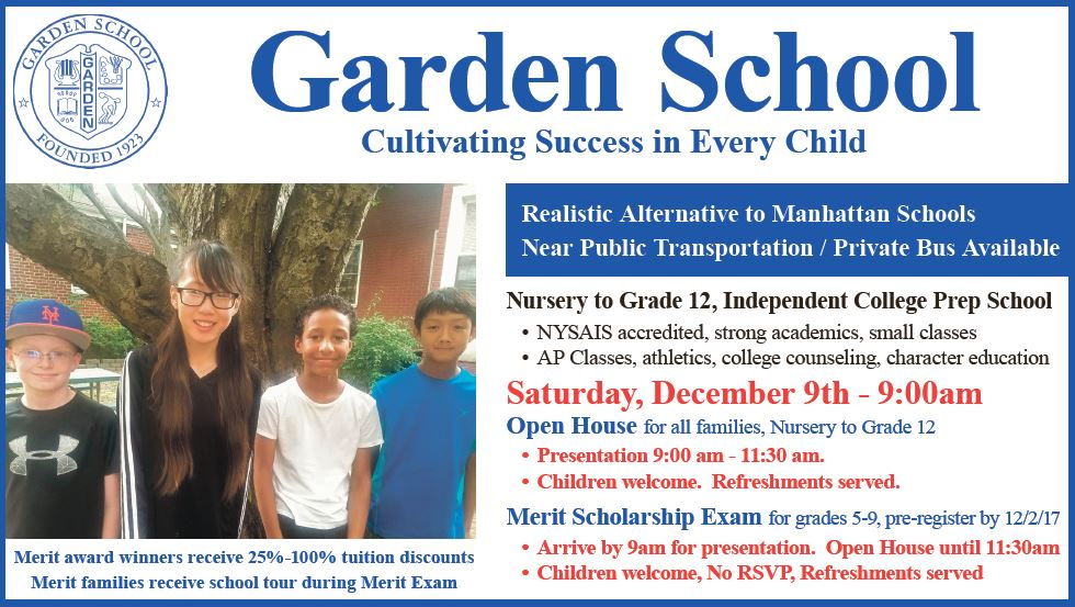Nursery To Grade 12 Students & Parents Invited To Garden School Open House Saturday December 9
