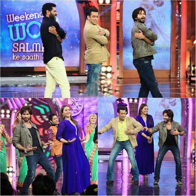 Prabhu Deva, Shahid and Sonakshi promoting R...Rajkumar with Salman Khan at Bigg Boss 7 platform