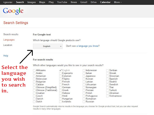 how to make google search in english