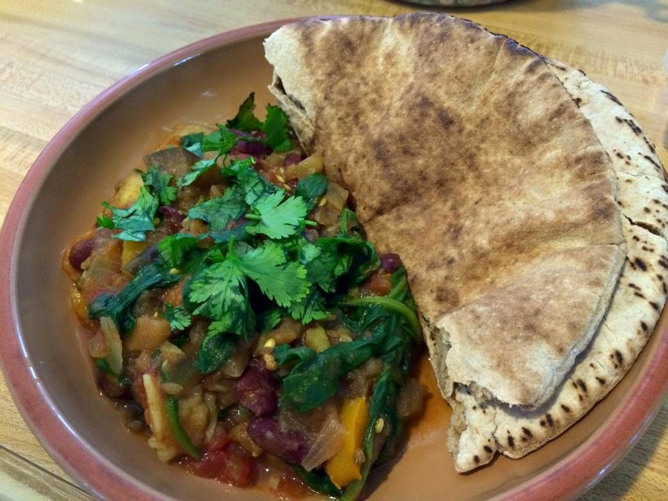 The Vegan Mouse: Aubergine Fennel and Bean Stew, Kale Salad.