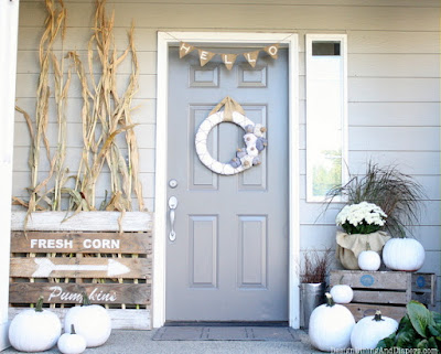 white fall harvest halloween decorations