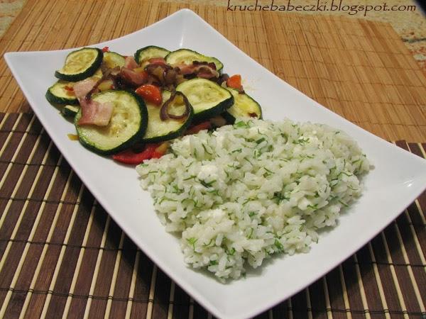 Warzywa zapiekane z boczkiem, ryż z fetą i koperkiem :))