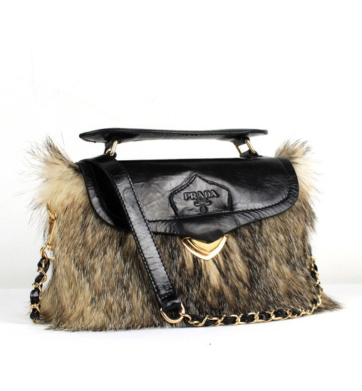 Prada Black Shoulder Leather Bag Fur Trim With.jpg