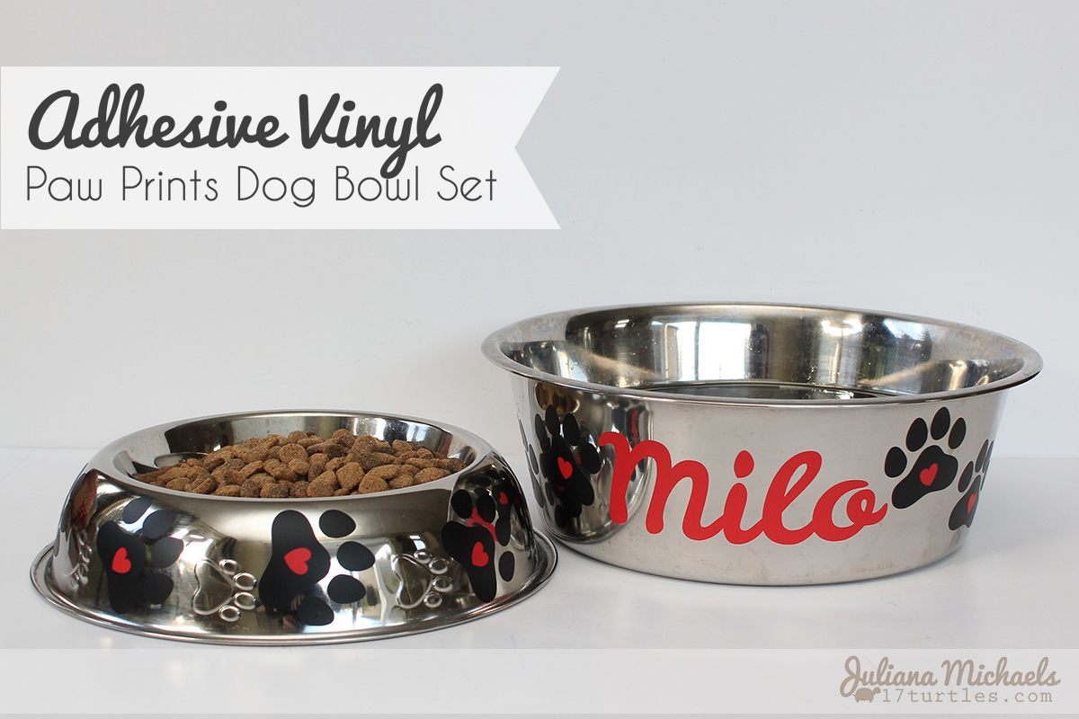 Adhesive Vinyl Paw Prints Dog Bowl Set by Juliana Michaels using SRM Stickers Vinyl and Paw Prints Digital Cut File